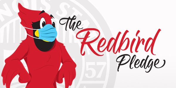 Illustration of Reggie wearing a mask and The Redbird Pledge text.